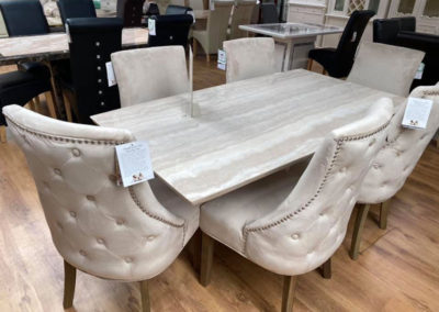 Marble Dining Room Table and Chairs
